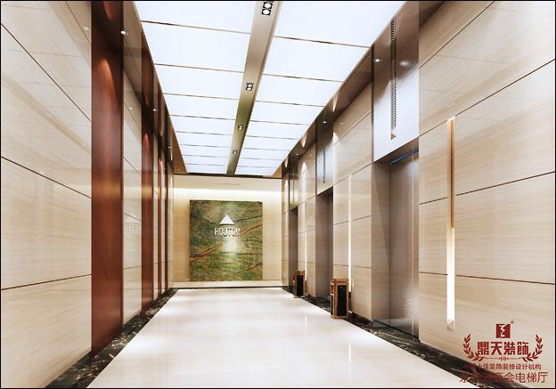 东钱湖商会大厦项目电梯厅效果图